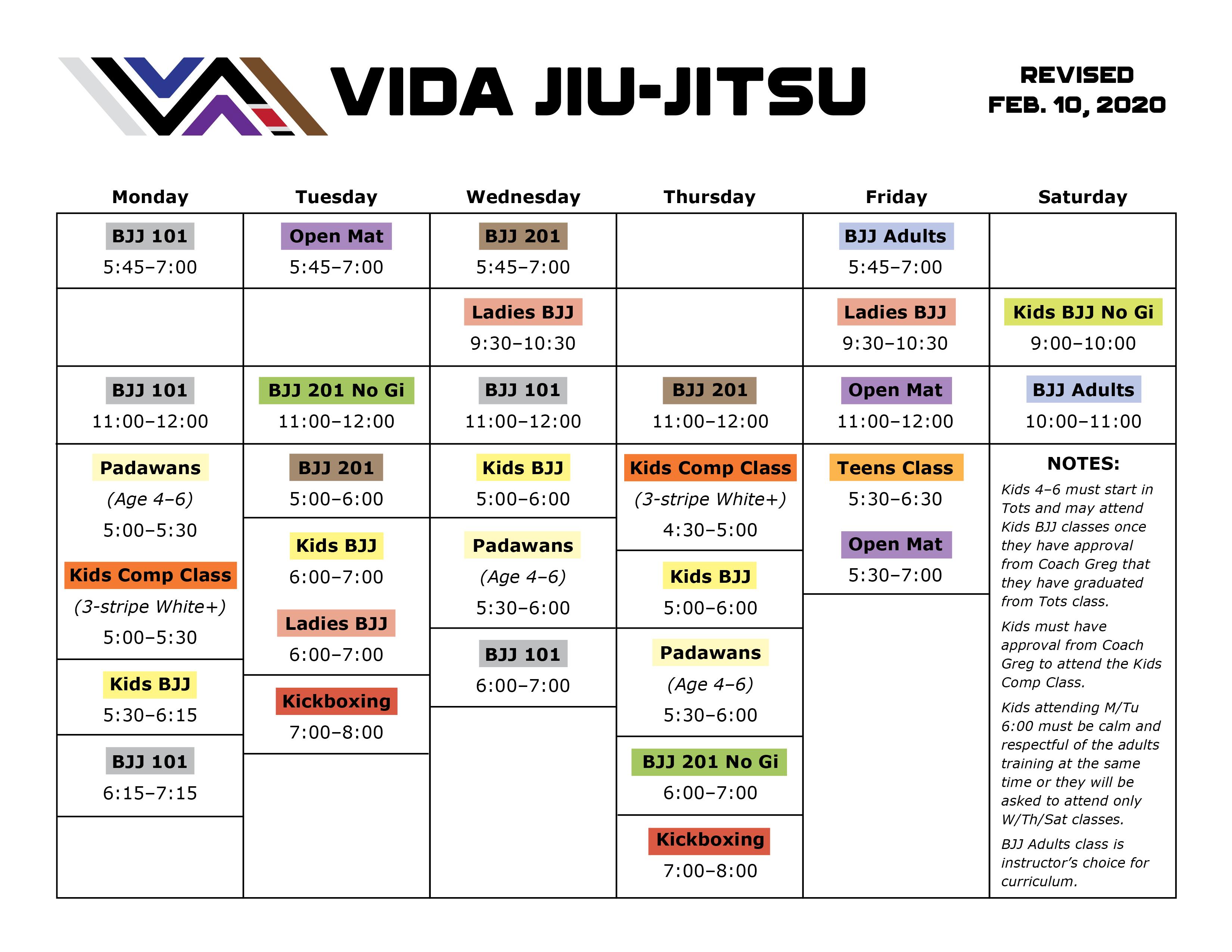 Vida Schedule February 2020