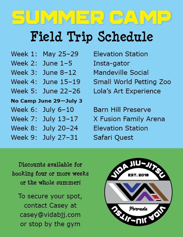 Summer Camp Field Trip Schedule B