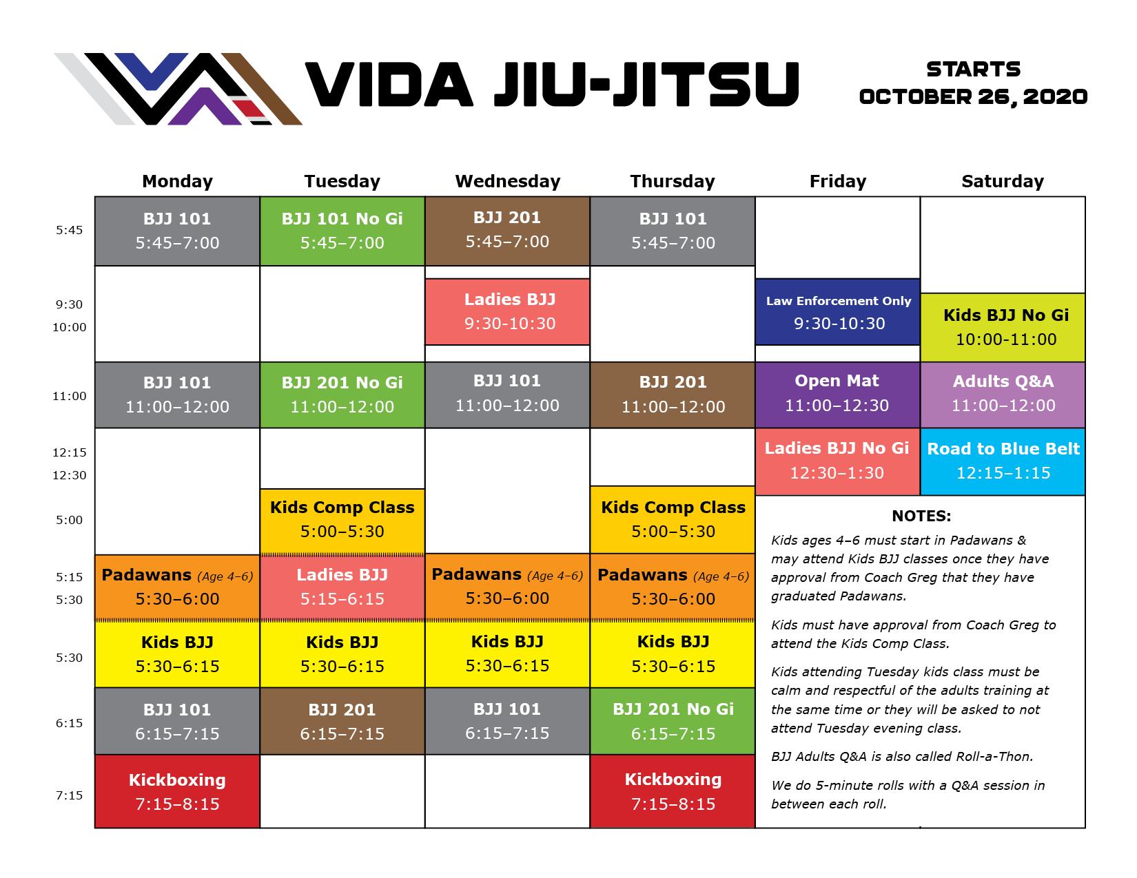Vida Schedule OCTOBER 2020