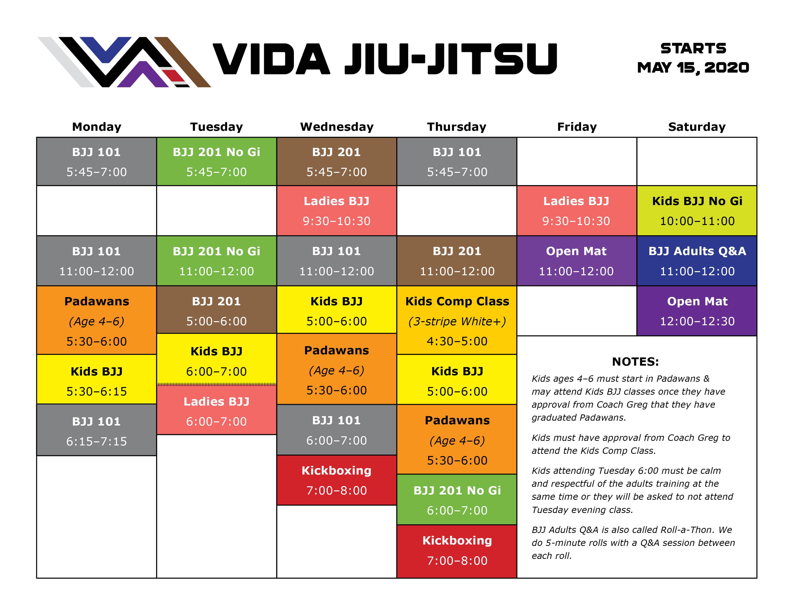 Vida Schedule May 2020